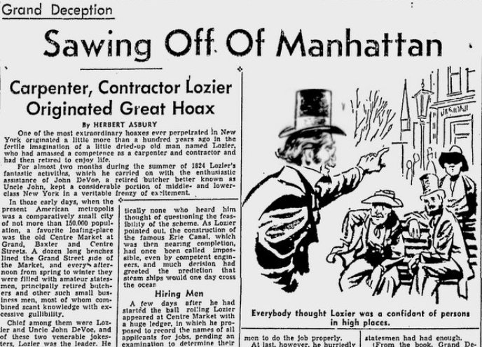 Sawing-off-Manhattan-Lozier-Hoax-Kingsbridge-Bronx-NYC
