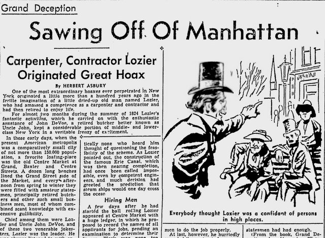 Sawing-off-Manhattan-Lozier-Hoax-Kingsbridge-Bronx-NYC